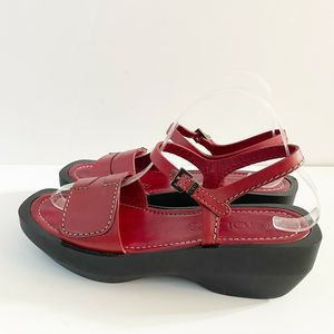 Tod's Red Leather Open Toe Ankle Strap Sandals 8